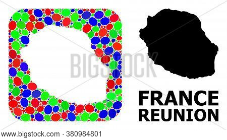 Vector Mosaic And Solid Map Of Reunion Island. Bright Geographic Map Created As Stencil From Rounded