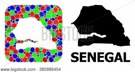 Vector Mosaic And Solid Map Of Senegal. Bright Geographic Map Designed As Stencil From Rounded Squar