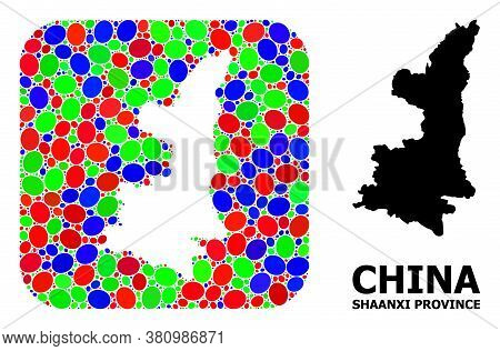 Vector Mosaic And Solid Map Of Shaanxi Province. Bright Geographic Map Created As Carved Shape From