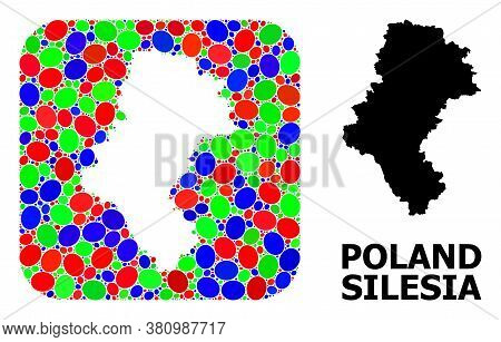 Vector Mosaic And Solid Map Of Silesia Province. Bright Geographic Map Designed As Hole From Rounded