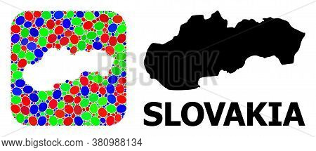 Vector Mosaic And Solid Map Of Slovakia. Bright Geographic Map Created As Subtraction From Rounded S