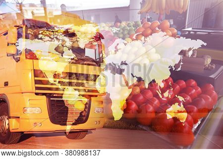 Multiple Exposure Of Truck, Fresh Fruits And World Map. Wholesale Concept