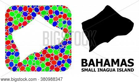 Vector Mosaic And Solid Map Of Small Inagua Island. Bright Geographic Map Created As Carved Shape Fr