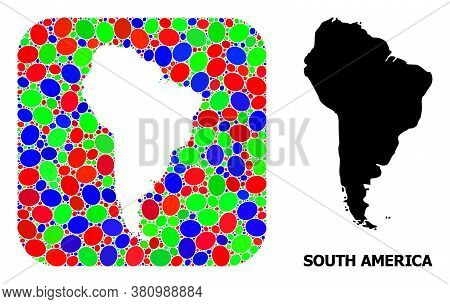 Vector Mosaic And Solid Map Of South America. Bright Geographic Map Designed As Stencil From Rounded
