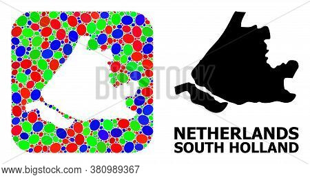 Vector Mosaic And Solid Map Of South Holland. Bright Geographic Map Created As Subtraction From Roun