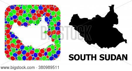Vector Mosaic And Solid Map Of South Sudan. Bright Geographic Map Constructed As Stencil From Rounde