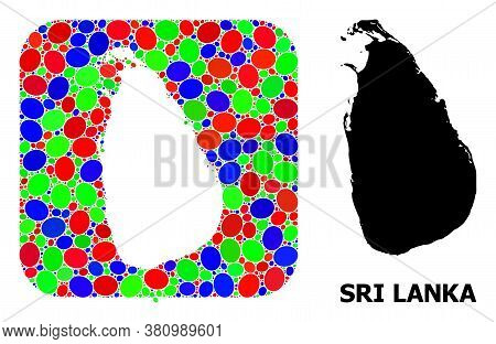 Vector Mosaic And Solid Map Of Sri Lanka. Bright Geographic Map Constructed As Hole From Rounded Squ