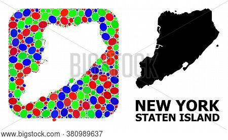 Vector Mosaic And Solid Map Of Staten Island. Bright Geographic Map Designed As Carved Shape From Ro