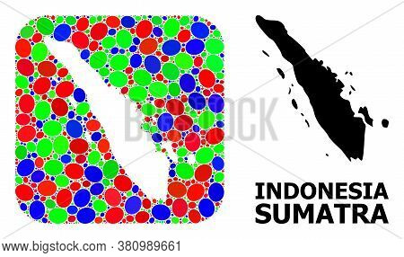 Vector Mosaic And Solid Map Of Sumatra Island. Bright Geographic Map Designed As Carved Shape From R