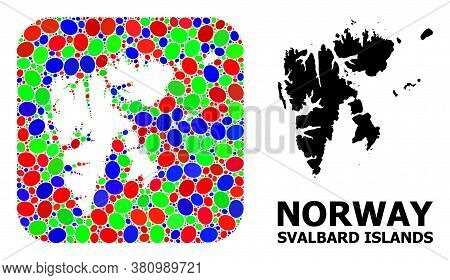 Vector Mosaic And Solid Map Of Svalbard Islands. Bright Geographic Map Constructed As Hole From Roun