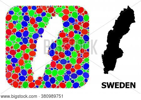 Vector Mosaic And Solid Map Of Sweden. Bright Geographic Map Designed As Carved Shape From Rounded S