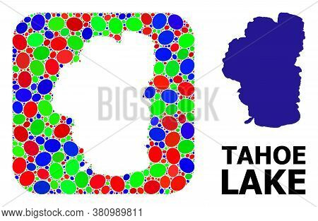 Vector Mosaic And Solid Map Of Tahoe Lake. Bright Geographic Map Constructed As Subtraction From Rou