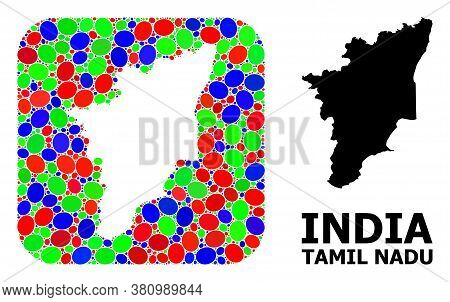 Vector Mosaic And Solid Map Of Tamil Nadu State. Bright Geographic Map Constructed As Carved Shape F