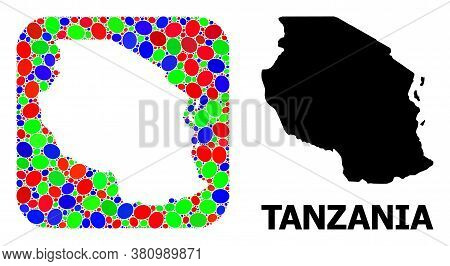 Vector Mosaic And Solid Map Of Tanzania. Bright Geographic Map Created As Carved Shape From Rounded