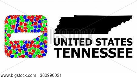 Vector Mosaic And Solid Map Of Tennessee State. Bright Geographic Map Constructed As Subtraction Fro