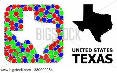 Vector Mosaic And Solid Map Of Texas State. Bright Geographic Map Created As Hole From Rounded Squar