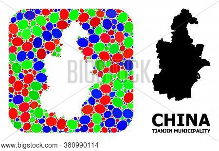Vector Mosaic And Solid Map Of Tianjin Municipality. Bright Geographic Map Constructed As Carved Sha