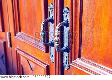 Church Door Handle . Closed Door Of The Cathedral