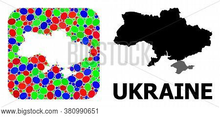 Vector Mosaic And Solid Map Of Ukraine. Bright Geographic Map Constructed As Carved Shape From Round