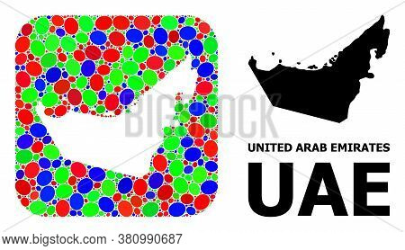 Vector Mosaic And Solid Map Of United Arab Emirates. Bright Geographic Map Designed As Stencil From