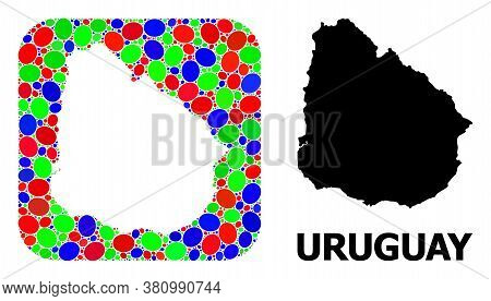 Vector Mosaic And Solid Map Of Uruguay. Bright Geographic Map Designed As Hole From Rounded Square W