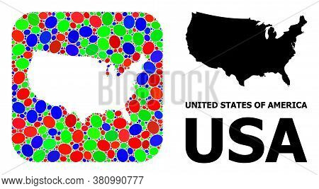 Vector Mosaic And Solid Map Of Usa. Bright Geographic Map Created As Stencil From Rounded Square Wit