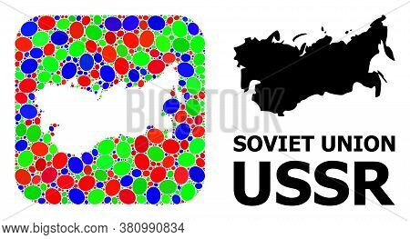 Vector Mosaic And Solid Map Of Ussr. Bright Geographic Map Created As Stencil From Rounded Square Wi