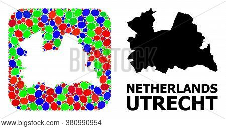 Vector Mosaic And Solid Map Of Utrecht Province. Bright Geographic Map Created As Subtraction From R