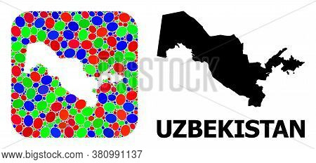 Vector Mosaic And Solid Map Of Uzbekistan. Bright Geographic Map Designed As Subtraction From Rounde