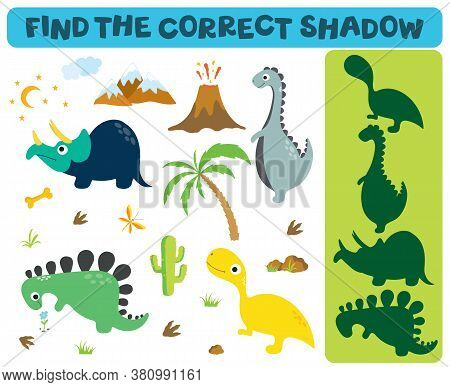 Find The Correct Shadow: Adorable Dinosaurs Isolated On White Background. Dinosaur Footprint, Volcan
