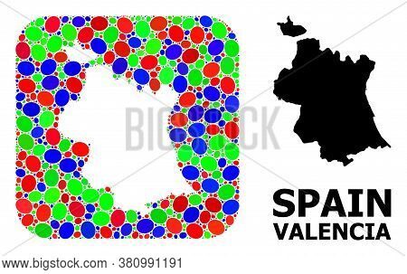 Vector Mosaic And Solid Map Of Valencia Province. Bright Geographic Map Constructed As Hole From Rou
