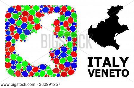 Vector Mosaic And Solid Map Of Veneto Region. Bright Geographic Map Constructed As Hole From Rounded