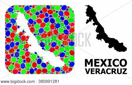 Vector Mosaic And Solid Map Of Veracruz State. Bright Geographic Map Designed As Stencil From Rounde
