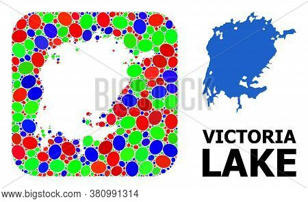 Vector Mosaic And Solid Map Of Victoria Lake. Bright Geographic Map Constructed As Stencil From Roun