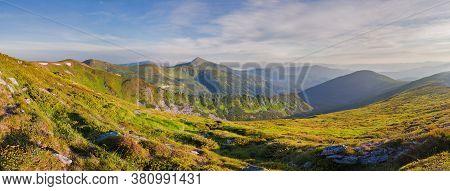 Panorama Mountain Ridge Overlooking The Mountain Hoverla. Carpathians, Ukraine, Europe.
