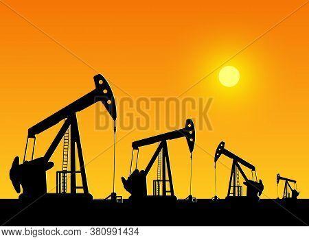 Oil Derrick In Sea For Industrial Design.
