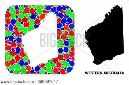 Vector Mosaic And Solid Map Of Western Australia. Bright Geographic Map Constructed As Stencil From