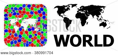 Vector Mosaic And Solid Map Of World. Bright Geographic Map Designed As Hole From Rounded Square Wit
