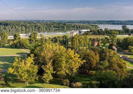 Lower Kalemegdan Park And Confluence Of Rivers Danube And Sava, View From Belgrade Fortress In Belgr