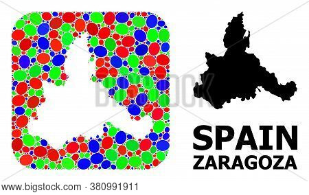 Vector Mosaic And Solid Map Of Zaragoza Province. Bright Geographic Map Designed As Hole From Rounde