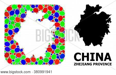 Vector Mosaic And Solid Map Of Zhejiang Province. Bright Geographic Map Designed As Stencil From Rou