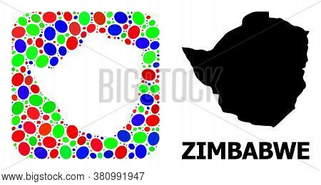 Vector Mosaic And Solid Map Of Zimbabwe. Bright Geographic Map Created As Subtraction From Rounded S