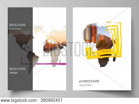 Vector Layout Of A4 Cover Mockups Templates For Brochure, Flyer Layout, Cover Design, Book Design, B