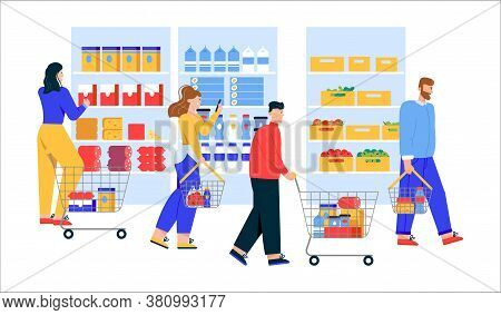 Men And Women With Shopping Carts And Baskets Choosing And Buying Products At Supermarket Or Grocery