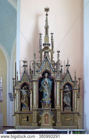 LUKA, CROATIA - SEPTEMBER 16, 2012: Our Lady's Altar at St. Roch Church in Luka, Croatia