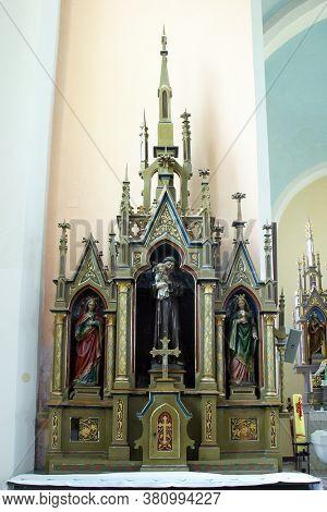 LUKA, CROATIA - SEPTEMBER 16, 2012: Altar of St. Anthony of Padua at St. Roch Church in Luka, Croatia