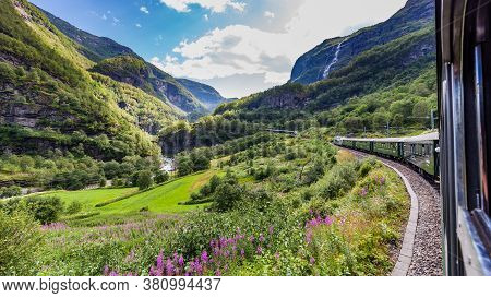 View From The Most Beautiful Train Journey Flamsbana Between Flam And Myrdal In Aurland In Western N