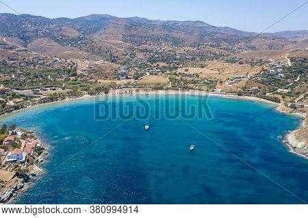 Kea Tzia Island, Cyclades, Greece. Aerial View Of Otzias Bay