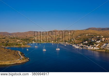 Kea Tzia Island, Cyclades, Greece. Aerial Drone Photo Of The Bay At Sunset Time.