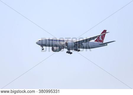 Istanbul, Turkey - August 07, 2020: Turkish Cargo Boeing 777-f (cn 66578) Landing To Istanbul Atatur